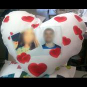 Potah s polštářem -  srdce
